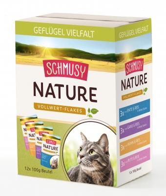 Schmusy Nature Vollwert-Flakes Geflügel Vielfalt Multibox 12x100 g